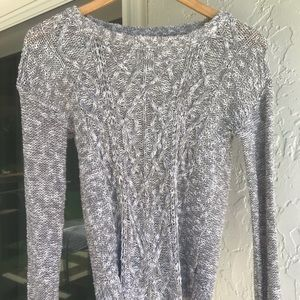 Cute grey and white long sleeve sweater